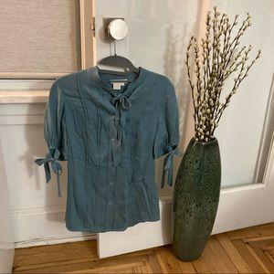 Abaeté Blue/Teal Silk Short Sleeve Blouse Size 4
